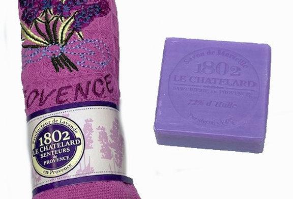 Lavender Gift Set : 1 embroidered handtowel + 1 lavender soap bar (F)
