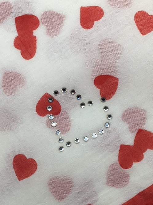 UNGARO Heart Collection Cotton Scarf – Red Hearts