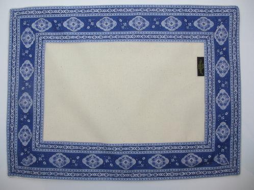 """Set of 6 placemats, """"Esterel Cadre Diabolo Bleu"""""""