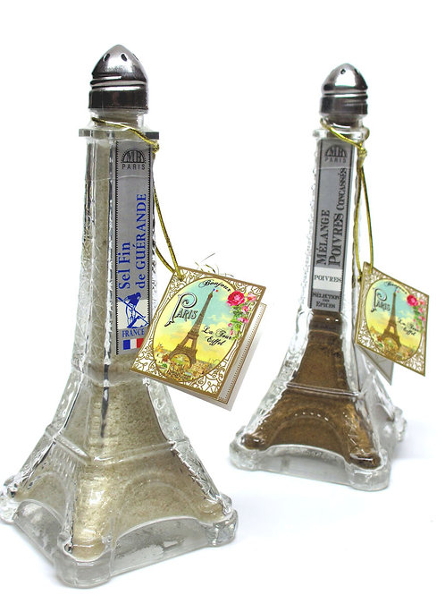 Glass Eiffel Tower Salt & Pepper Shakers