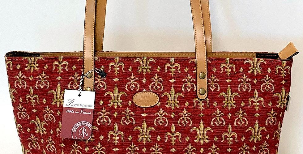 "Royal Tapisserie Small Tote Bag, ""Fleur de Lys"" - Red"