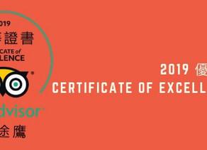 TRIPADVISOR 2019 優等證書 CERTIFICATE OF EXCELLENT