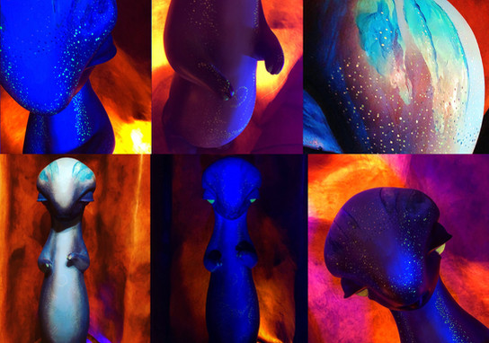 Fluorescent painting works