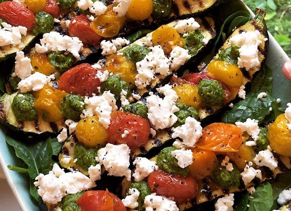 Griddled Courgette, Roasted Tomato, Feta & Dill Salsa