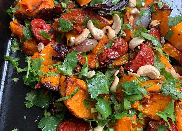 Butternut, Tomato, Cashew Salad; Ginger dressing