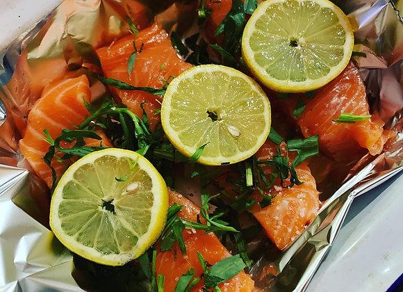 Yoghurt & Spice Roasted Salmon with Za'atar Roasted Sweet Potatoes