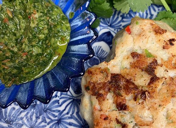 Thai Pumpkin & Chicken Cakes; Coriander Chutney
