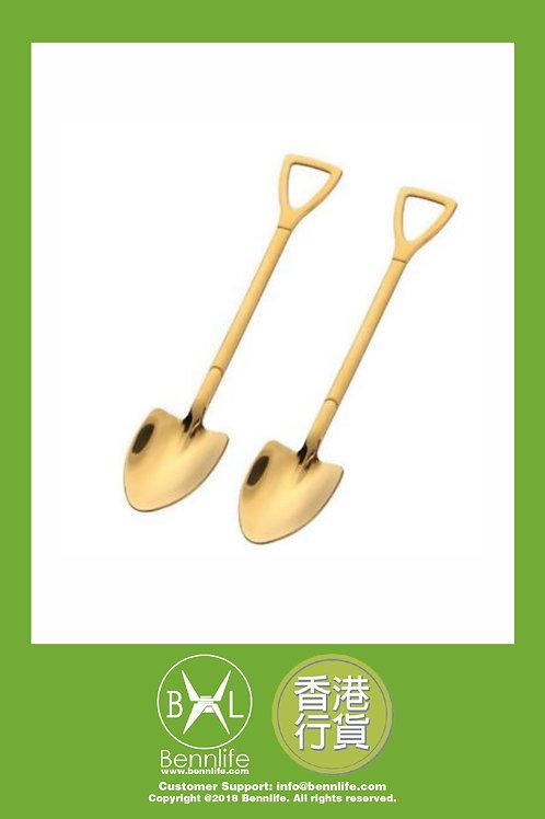 Bennlife 賓尼生活 不銹鋼鐵鏟形甜品勺 水果勺(金色尖鏟 2件)
