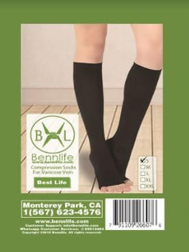 Bennlife 賓尼生活 中筒露趾壓力襪 治療靜脈曲張 美腿(S碼)
