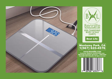 Bennlife 賓尼生活 USB充電電子體重磅 體重秤 (銀灰色, 1件)