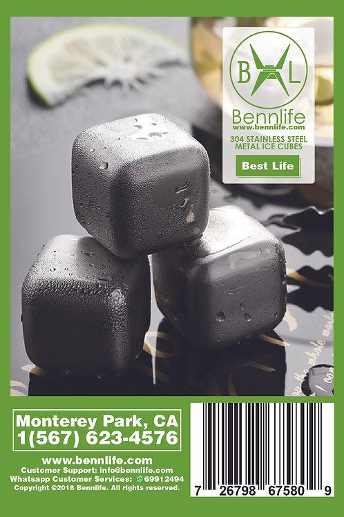 Bennlife 賓尼生活 304不鏽鋼金屬冰粒 速凍飲品(4粒1套,附送收納盒)