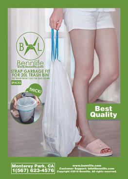 Bennlife賓尼生活 超厚!!索帶垃圾袋, 適合20公升垃圾桶,十分穩固,垃圾不會令袋向下垂(白藍色, 1包2卷)