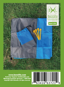 Bennlife 賓尼生活 戶外野營防水沙灘墊,便攜式可折疊滌綸口袋,野餐墊子防