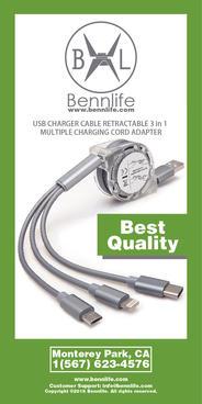 Bennlife賓尼生活 USB可伸縮3合1多個充電線 (灰色,1條)