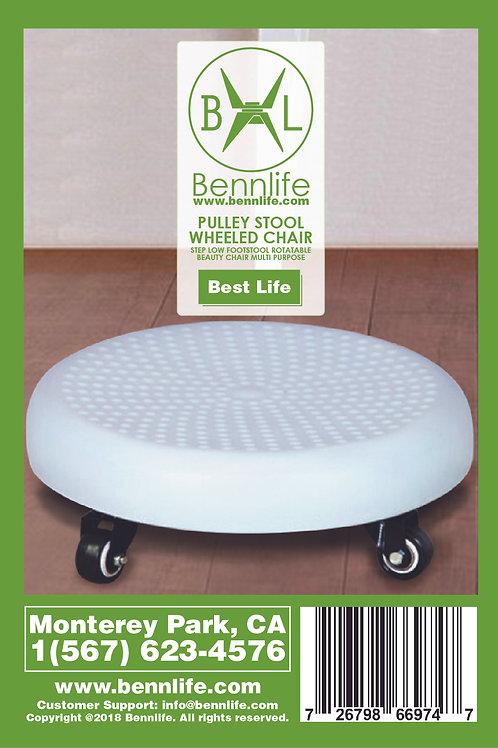 Bennlife賓尼生活  白色帶輪小圓櫈子可360度旋轉 (適合搬重件)