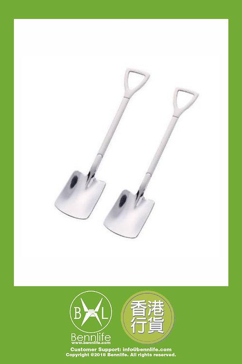 Bennlife 賓尼生活 不銹鋼鐵鏟形甜品勺 水果勺(銀色方鏟 2件)