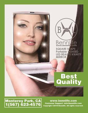 Bennlife 賓尼生活 方形便攜式LED美容鏡(白色)