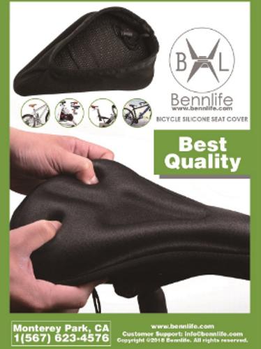 Bennlife賓尼生活 免屁痛- 3D加厚單車矽膠坐墊套 (黑色)