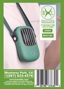 Bennlife 賓尼生活 便携式免提掛頸風扇/迷你個人風扇USB可充電/用於跑步/旅行/戶外露營/辦公室(綠色, 1件)