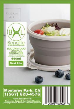 Bennlife賓尼生活 戶外伸縮摺疊連蓋餐盒 660ML