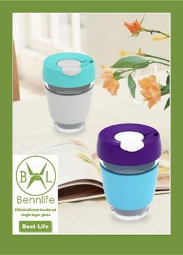 Bennlife 賓尼生活 250ml耐高溫矽膠隔熱單層玻璃杯
