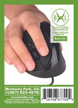 Bennlife 賓尼生活 垂直滑鼠有線USB線, (黑色)