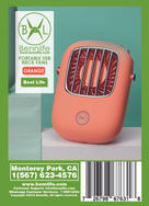 Bennlife 賓尼生活 便携式免提掛頸風扇/迷你個人風扇USB可充電/用於跑步/旅行/戶外露營/辦公室(橙色,1件)
