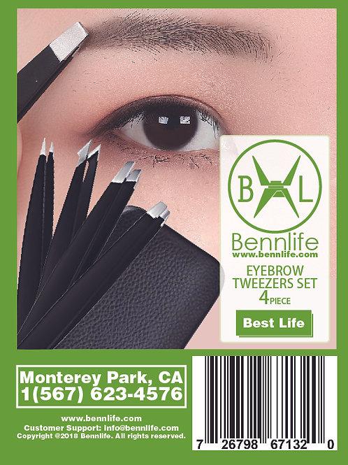 Bennlife賓尼生活 不銹鋼眉毛套裝4件 (黑色)