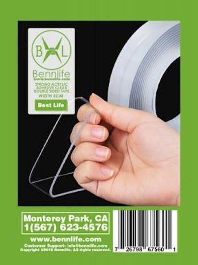 Bennlife 賓尼生活 納米雙面膠紙 膠帶(厚:1mm 長:3cm*3米)