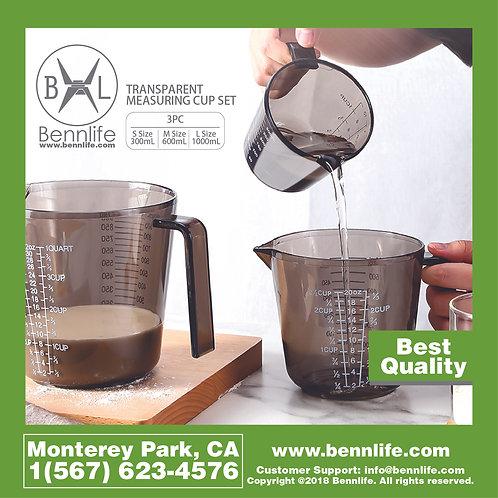Bennlife賓尼生活 家用塑料量杯,透明量杯三件套裝(大,中,小)