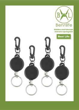 Bennlife賓尼生活 防丟不銹鋼伸縮鋼絲繩鑰匙扣卡套扣 (小款,35mm)