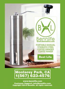 Bennlife不銹鋼手動咖啡磨豆機, 胡椒研磨器 (銀色, S)