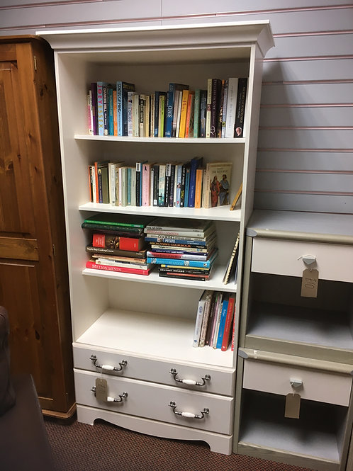 White Bookcase with 2 Drawers