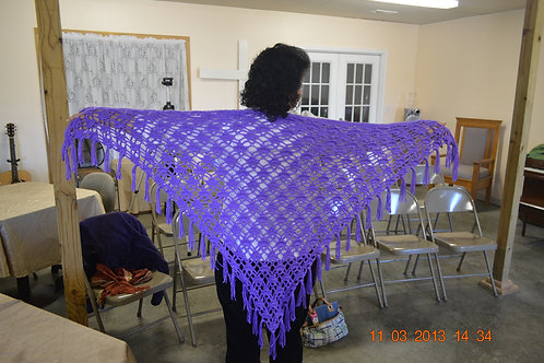 Fan Stitch Fringed Shawl