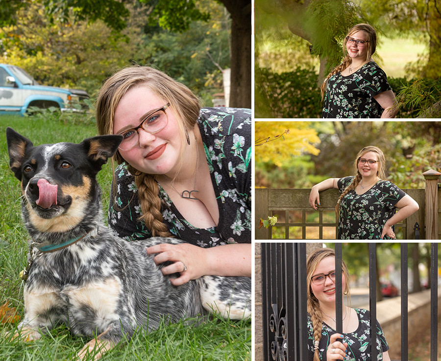 Senior girl with dog and on college campus for senior pictures