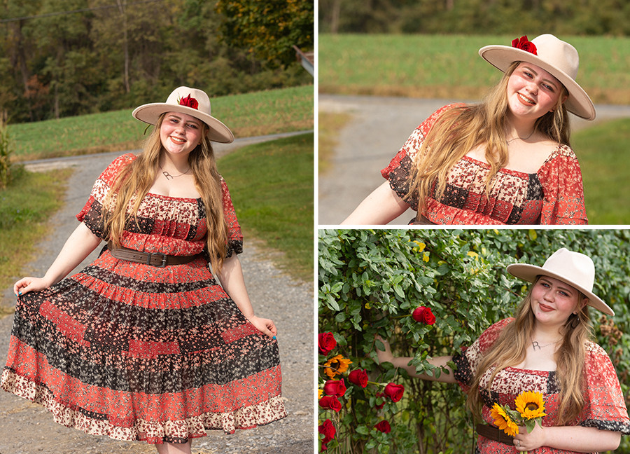 Senior girl in Boho dress and hat with flowers