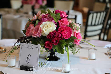 pink garden roses and peonies