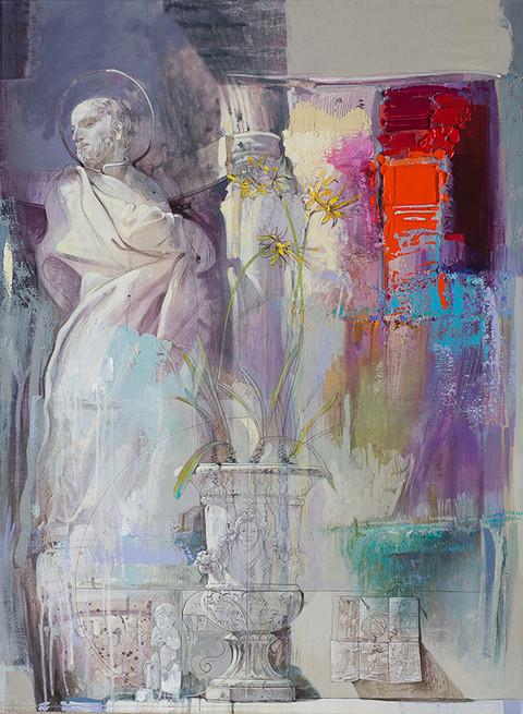 LA CORTE DI FEDERICO II: MICHELE SCOTO E IL FIBONACCI Acrilico su tela cm. 80x100