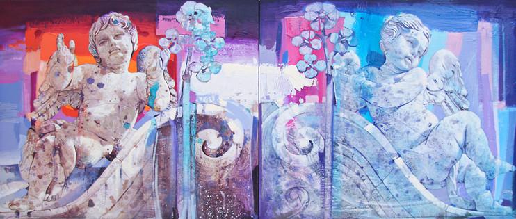 PARTICOLARE CHIESA DI SAN GIULIANO, VIA DEI CROCIFERI, CATANIA Dittico Acrilico su tela cm. 50x120