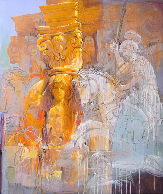 RUGGERO I CONQUISTA L'ISOLA DI SICILIA, MAZARA DEL VALLO, TRAPANI Acrilico su tela cm. 100x140