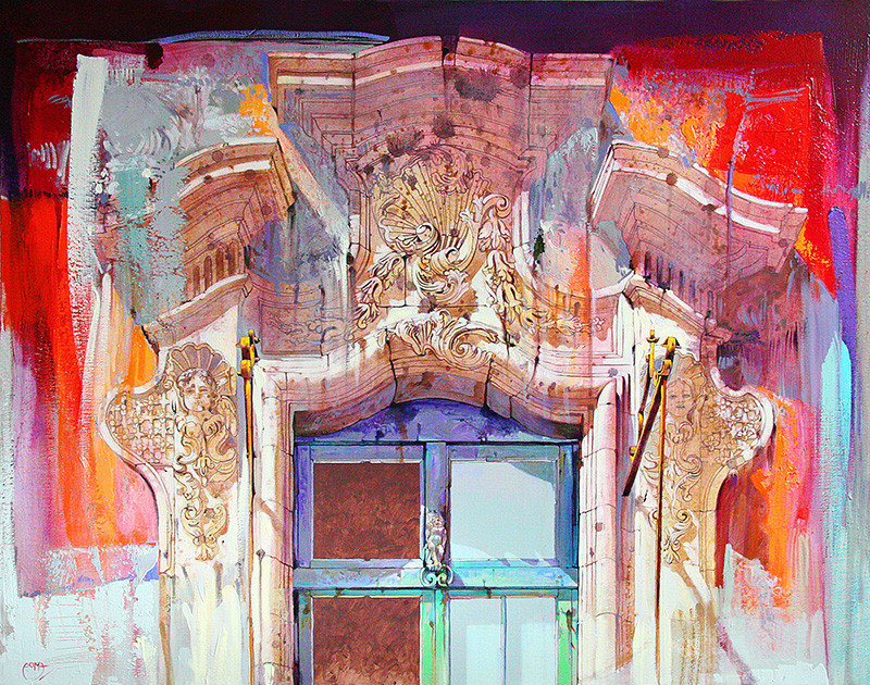 PALAZZO NOBILIARE, RAGUSA IBLA Acrilico su tela cm. 80x100