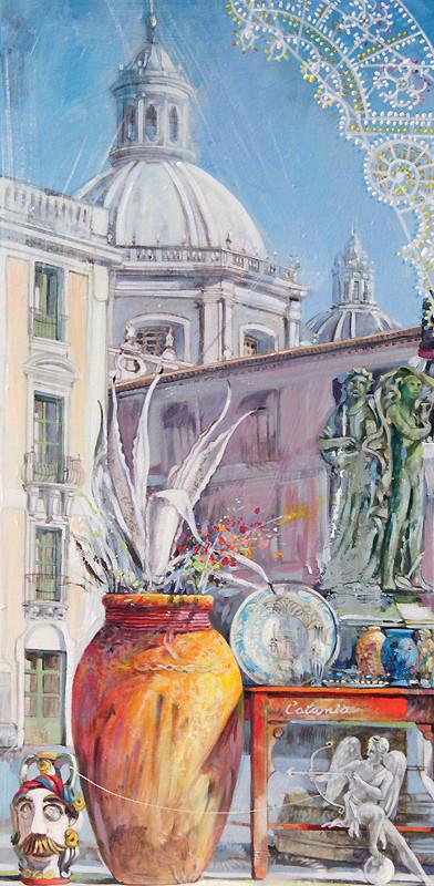 COLAPESCE, PIAZZA UNIVERSITA', CATANIA Acrilico su tavola cm. 25x50
