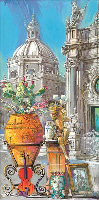 COSTANZA D'ARAGONA E FEDERICO II, CATANIA Acrilico su tavola cm. 25x50