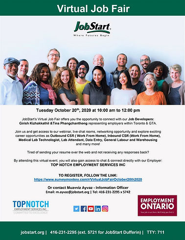 JobStart Virtual Job Fair on October 20th, 2020