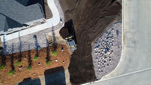 Drone Photo of ATL Skid Steer in GreenBryre, Saskatoon