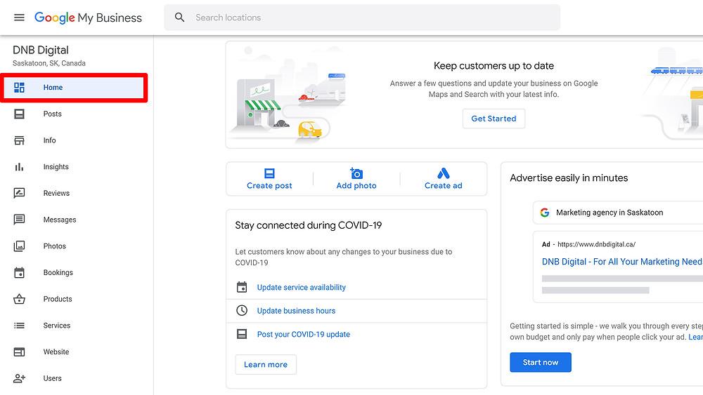 DNB Digital Google My Business Account Dashboard