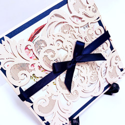 Pink Florals with Navy Laser cut