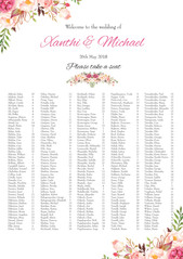 Xanthi & Michael - Seating Chart artwork
