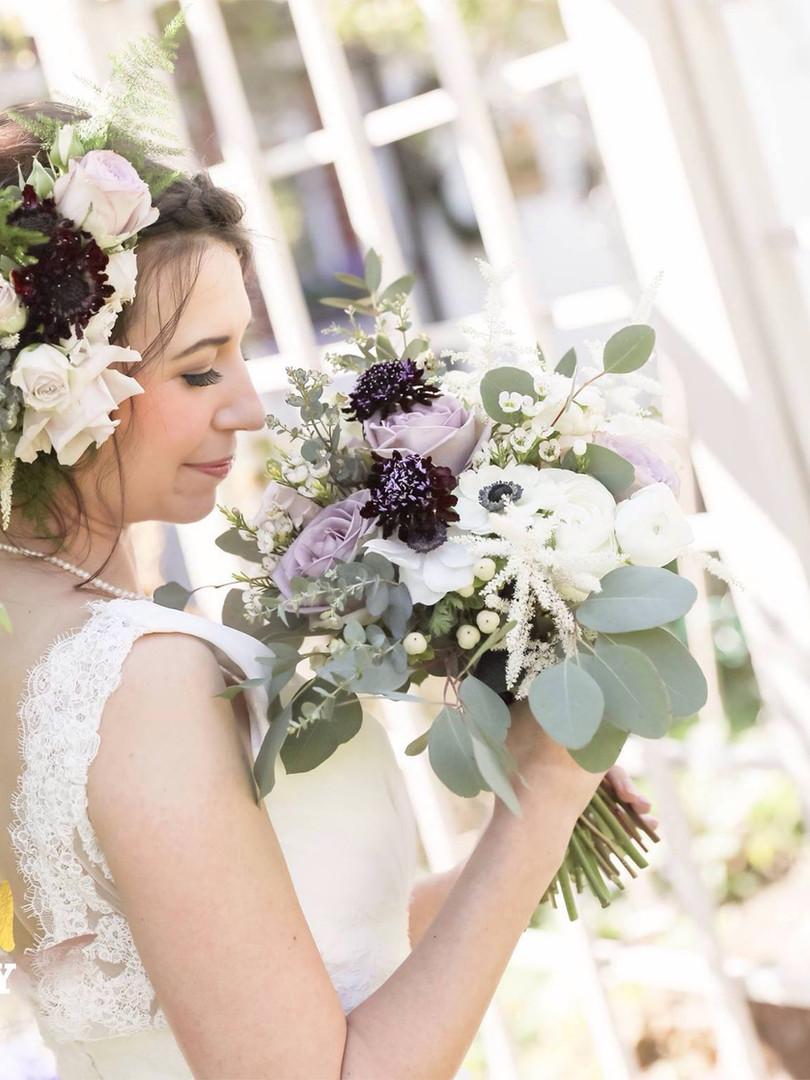 wedding flowers and head piece