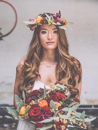 wedding flowers headdress and bouquet